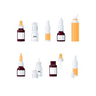 Носовые капли иллюстрации концепции. набор медицинских флаконов в мультяшном стиле