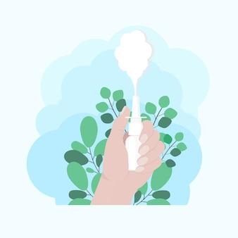 손에 비강 스프레이. 손은 비강 스프레이 방울을 보유하고 있습니다. 유칼립투스 가지. 알레르기 및 질병 벡터 일러스트레이션 중 호흡을 용이하게 하기 위해 스프레이 사용