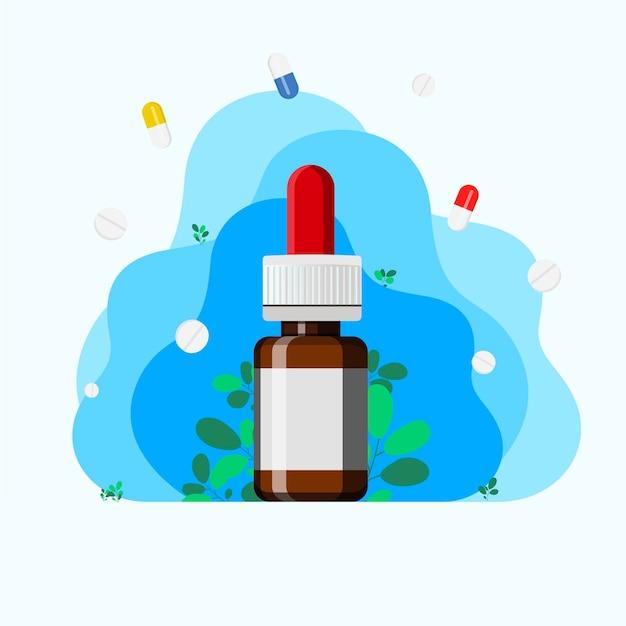 Спрей для носа с ветками эвкалипта. использование спреев для облегчения дыхания при аллергии и болезнях. понятие медицины и лечения ринита и аллергии. концепция отоларингологии.