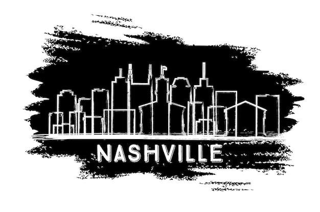Силуэт горизонта города нэшвилл, штат теннесси. рисованный эскиз. векторные иллюстрации. деловые поездки и концепция туризма с исторической архитектурой. городской пейзаж нэшвилла с достопримечательностями.