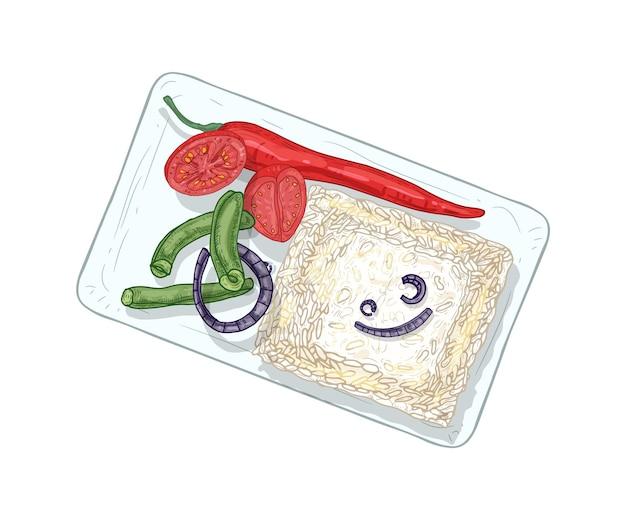나시 칸다르 현실적인 벡터 일러스트 레이 션. 흰색 배경에 고립 된 채식 요리입니다. 전통 말레이 요리 레스토랑 레시피 북 디자인 요소입니다. 야채 장식으로 삶은 밥.