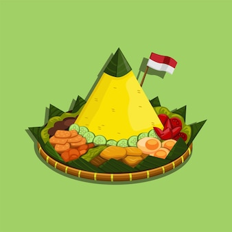 Наси тумпенг - индонезийское блюдо из риса в форме конуса из яванской кухни индонезии. иллюстрации шаржа