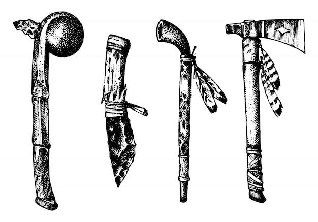 国立アメリカとインドの伝統。メイスと儀式用パイプ、ナイフと斧、チャヌンパまたは道具と器具。古いスケッチで描かれた刻まれた手。