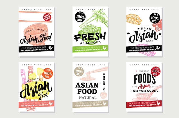 National asian food sketch flyers