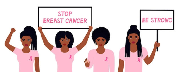 National breast cancer awareness month. african american woman raised her fist. girls hold banners. black girl showing stop gesture. a call to care for women's health.