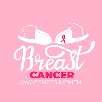 ブラとピンクのリボンが付いた全国乳がん啓発月間バナー。