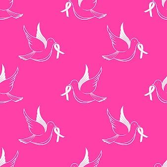 Национальный месяц осведомленности о раке груди. летящий голубь с лентой бесшовные модели.