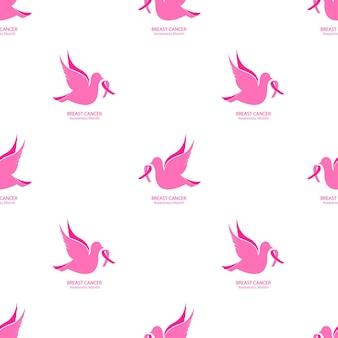 Национальный месяц осведомленности рака молочной железы бесшовные модели. летящий голубь с розовой лентой на белом фоне.