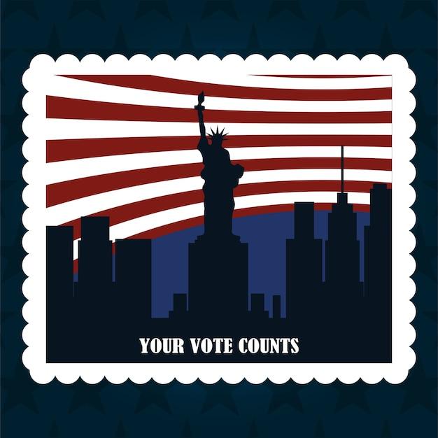 Национальный город и флаг американская почтовая марка, политическое голосование и выборы в сша, заставьте его считать иллюстрацию