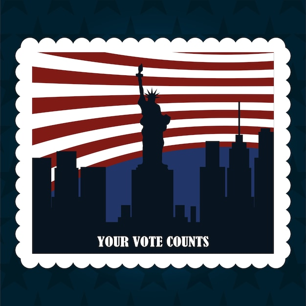 National city and flag american post stamp, politics voting and elections usa, make it count illustration
