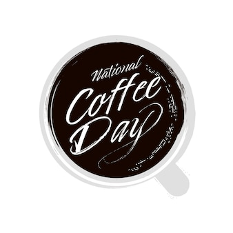 National coffee day. hand drawn lettering phrase vector.