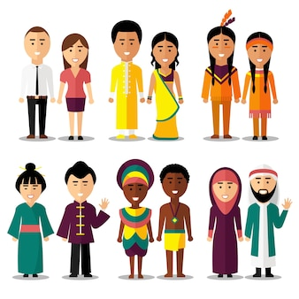 National couples characters in cartoon style. indians and arab, hindus and japanese, american or european people. vector illustration