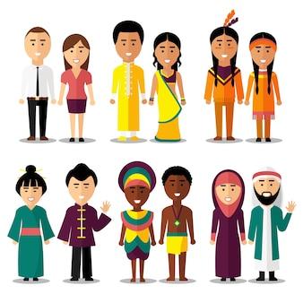 Национальные пары персонажей в мультяшном стиле. индусы и арабы, индусы и японцы, американцы или европейцы. векторная иллюстрация
