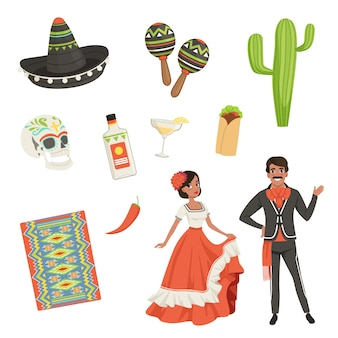 National cultural symbols of mexico. blanket with ethnic pattern, sombrero, cactus, skull, taco, tequila, maracas. latin americans. people in traditional clothes. flat