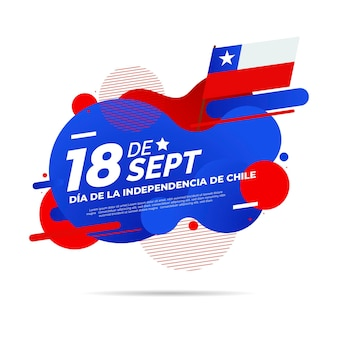 National day of chile liquid effect and flag