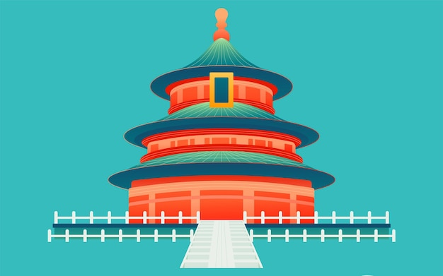 National day holiday holiday play illustration chinese style temple of heaven building poster