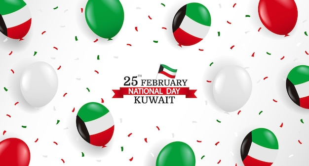 National day kuwait. background with balloons and confetti.