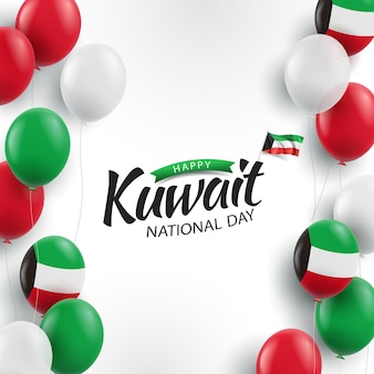 National day kuwait. balloons Premium Vector