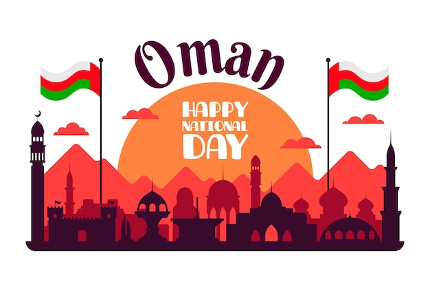 National day of oman flat design