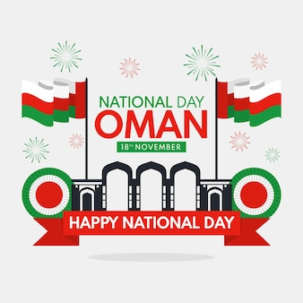 National day of oman illustration with fireworks and flags