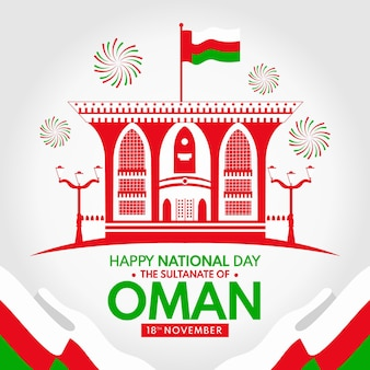 National day of oman illustration with fireworks