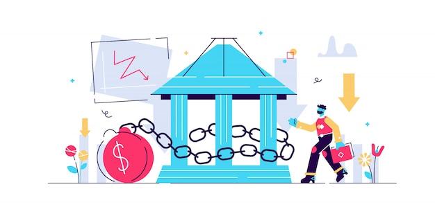 국가 부채 그림. 작은 정부 신용 명 개념. 세계 및 국내 돈 손실 문제. 나쁜 경제 및 금융 적자 위험 기호. 국가 대출 위기 및 파산 위험.