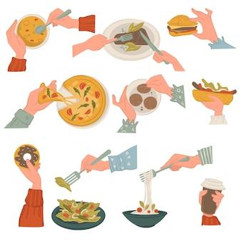 郷土料理と料理、スープとチーズバーガー、甘い艶をかけられたドーナツとサラダを食べます。おいしいパスタとピザ、タコスまたはブリトーと肉と野菜。ダイエットと栄養、フラットでベクトル Premiumベクター