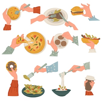 National dishes and cuisine, eating soup and cheeseburger, sweet glazed donut and salad. delicious pasta and pizza, taco or burrito with meat and veggies. dieting and nutrition, vector in flat