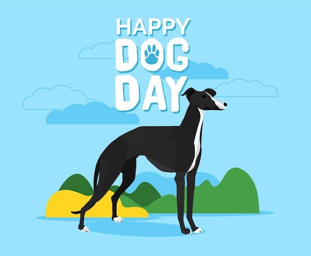 Illustrazione della giornata nazionale del cane con cane piatto