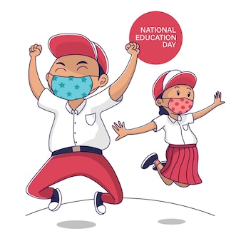 National education day indonesia student jump