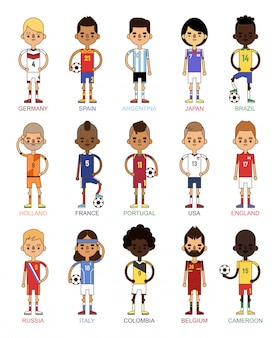 National euro cup soccer football teams vector illustration