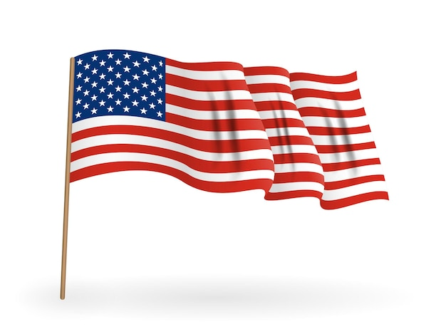 미국의 국기. 깃대에 흔들며 미국 배너입니다. 벡터 일러스트 레이 션. eps10