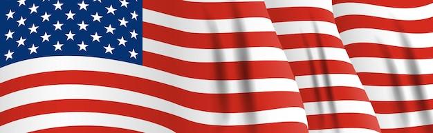 アメリカの国旗。アメリカのバナーを振ってクローズアップ。ベクトルイラスト。 eps10