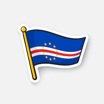 Национальный флаг стран кабо-верде в африке символ местоположения для путешественников векторная иллюстрация