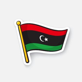 Национальный флаг стран ливии в африке символ местоположения для путешественников векторные иллюстрации