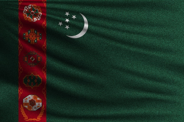 The national flag of turkmenistan.