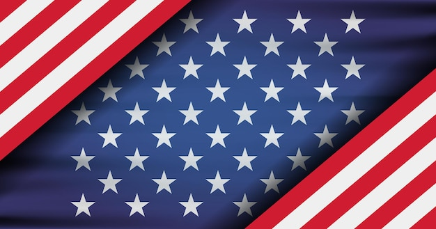 The national flag of the united states of america. modern flat illustration. american flag for independence day.