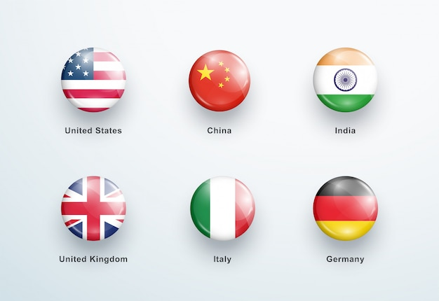 National flags round glossy buttons icons set