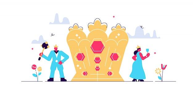 국가 리더십 형태. 왕과 왕비 왕위와 전통적인 왕관 상징. 귀족 계층 구조 시스템.