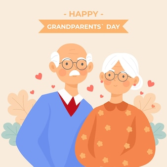 National grandparents' day background flat design