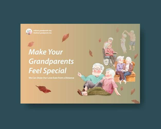 Национальный день бабушек и дедушек дизайн концепции для социальных сетей и интернет-маркетинга акварель вектор.