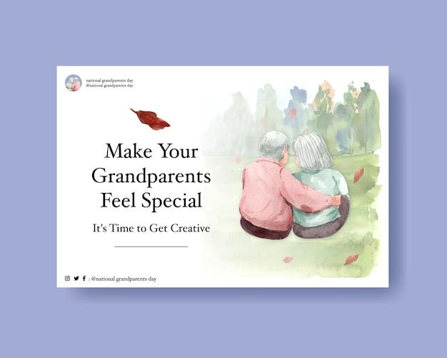 ソーシャルメディアとオンラインマーケティングの水彩ベクトルの祖父母の日コンセプトデザイン。