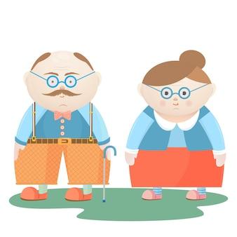 Национальный день бабушек и дедушек. веселый дедушка и бабушка.