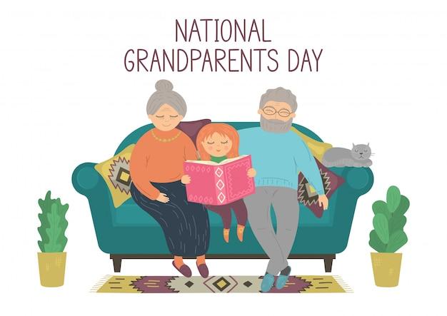 祖父母の日。幸せな祖父母が孫娘と本を読んで。年配の男性、年配の女性、自宅のソファーに座っている子供。