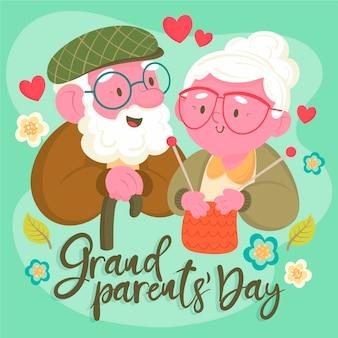 フラットデザインの祖父母の日