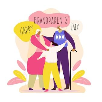 Национальный день бабушки и дедушки (сша) в плоском дизайне