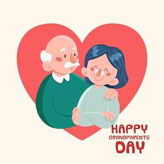 年配のカップルと祖父母の日