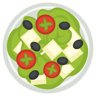 National greek cuisine, isolated icon of plate with tomatoes slices, olives and feta cheese. salad representing national dishes. restaurant or diner assortments in menu. vector in flat style