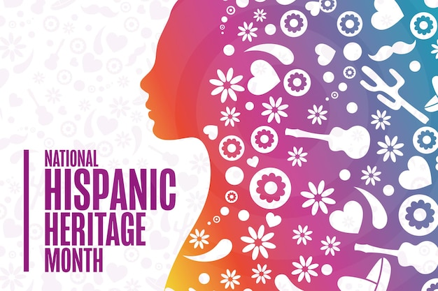 National hispanic heritage month. holiday concept. template for background, banner, card, poster with text inscription. vector eps10 illustration.