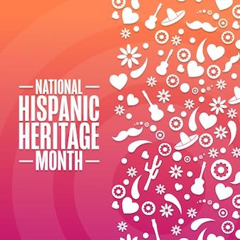 국가 히스패닉 유산의 달. 휴일 개념입니다. 배경, 배너, 카드, 텍스트 비문이 있는 포스터용 템플릿입니다. 벡터 eps10 그림입니다.
